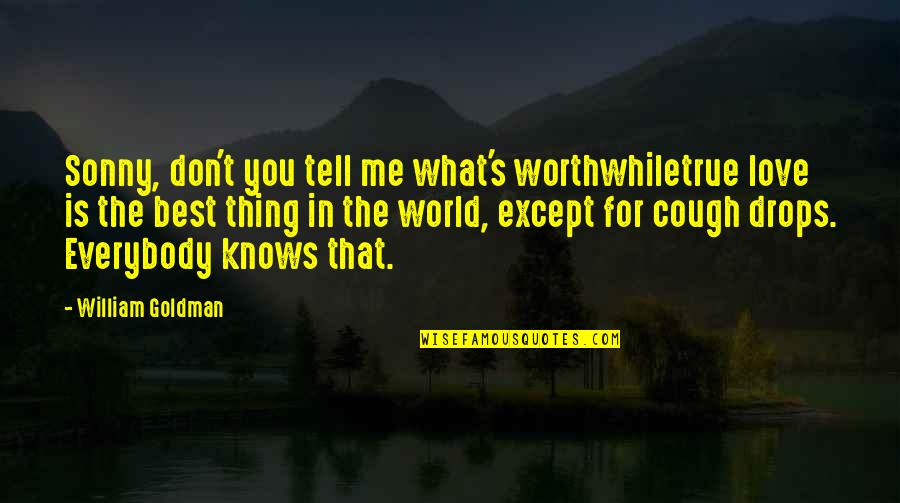 Love That Is True Quotes By William Goldman: Sonny, don't you tell me what's worthwhiletrue love