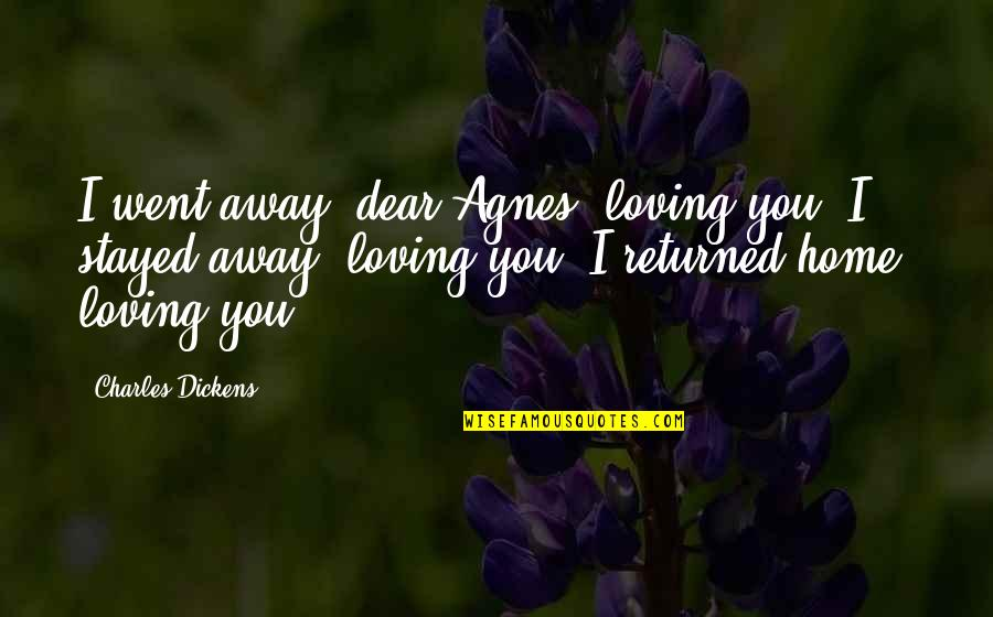 Love That Went Away Quotes By Charles Dickens: I went away, dear Agnes, loving you. I