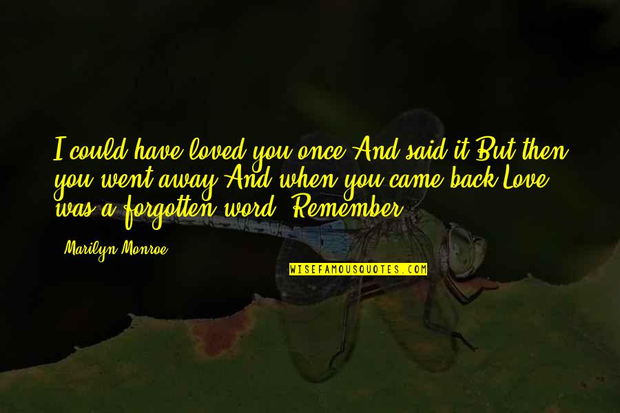 Love That Went Away Quotes By Marilyn Monroe: I could have loved you once And said