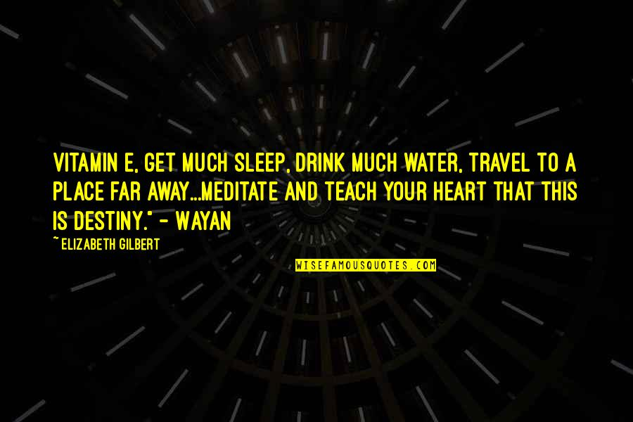 Love To Travel Quotes By Elizabeth Gilbert: Vitamin E, get much sleep, drink much water,