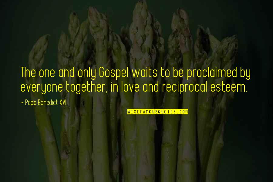 Love Waits Quotes By Pope Benedict XVI: The one and only Gospel waits to be