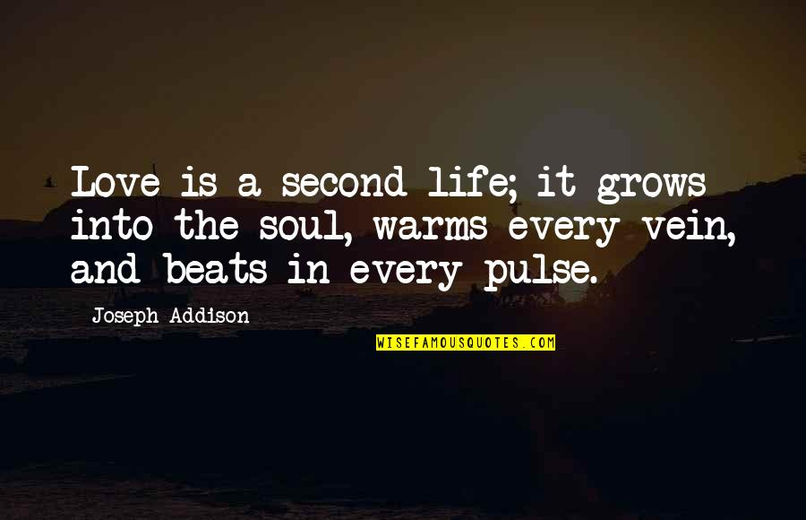 Love Warms Quotes By Joseph Addison: Love is a second life; it grows into