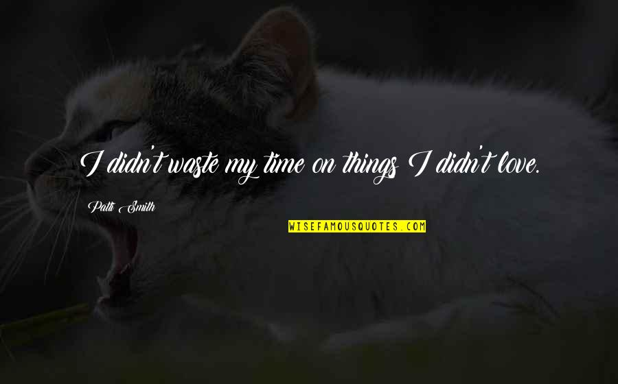 Love Wasting Time Quotes By Patti Smith: I didn't waste my time on things I