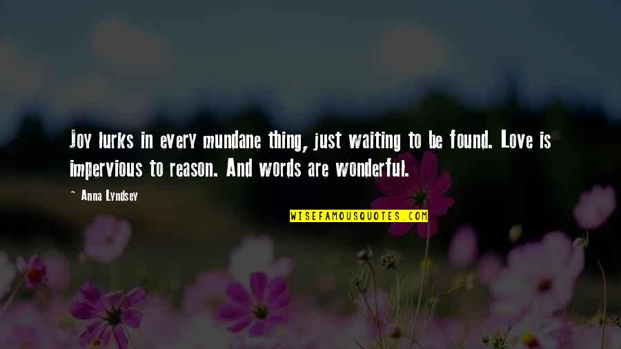 Love With Meaning Quotes By Anna Lyndsey: Joy lurks in every mundane thing, just waiting