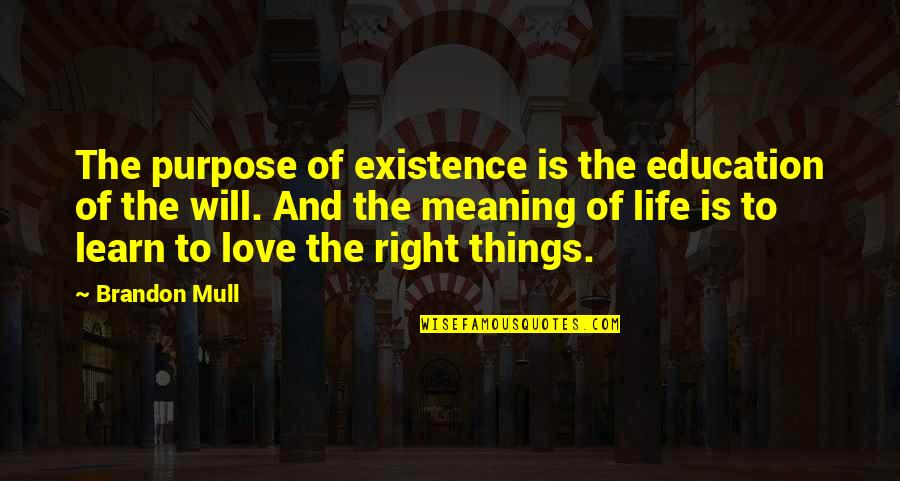 Love With Meaning Quotes By Brandon Mull: The purpose of existence is the education of
