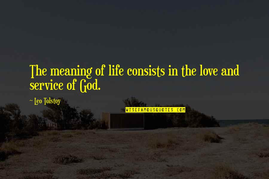 Love With Meaning Quotes By Leo Tolstoy: The meaning of life consists in the love