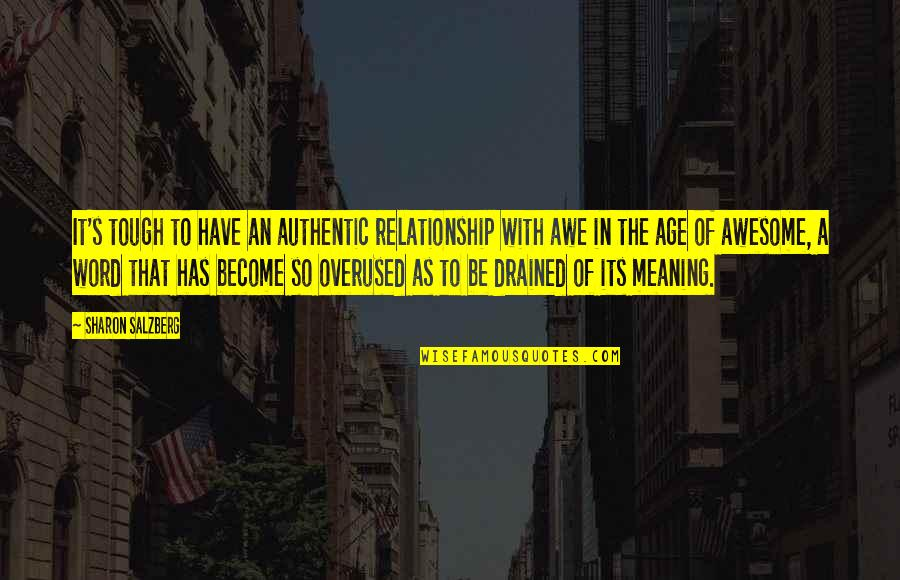 Love With Meaning Quotes By Sharon Salzberg: It's tough to have an authentic relationship with