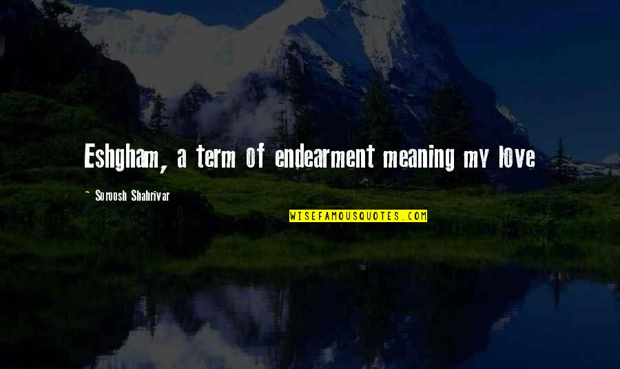 Love With Meaning Quotes By Soroosh Shahrivar: Eshgham, a term of endearment meaning my love