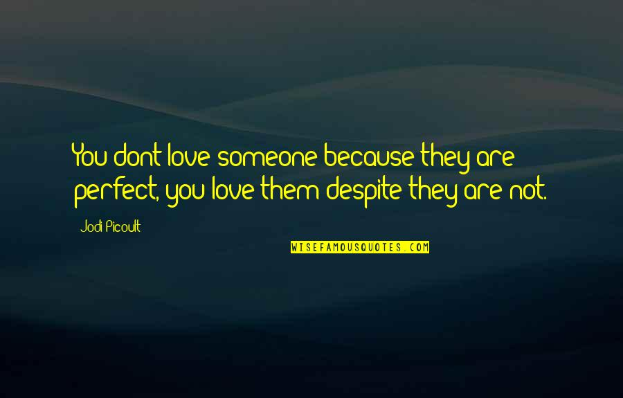 Love You Despite Quotes By Jodi Picoult: You dont love someone because they are perfect,