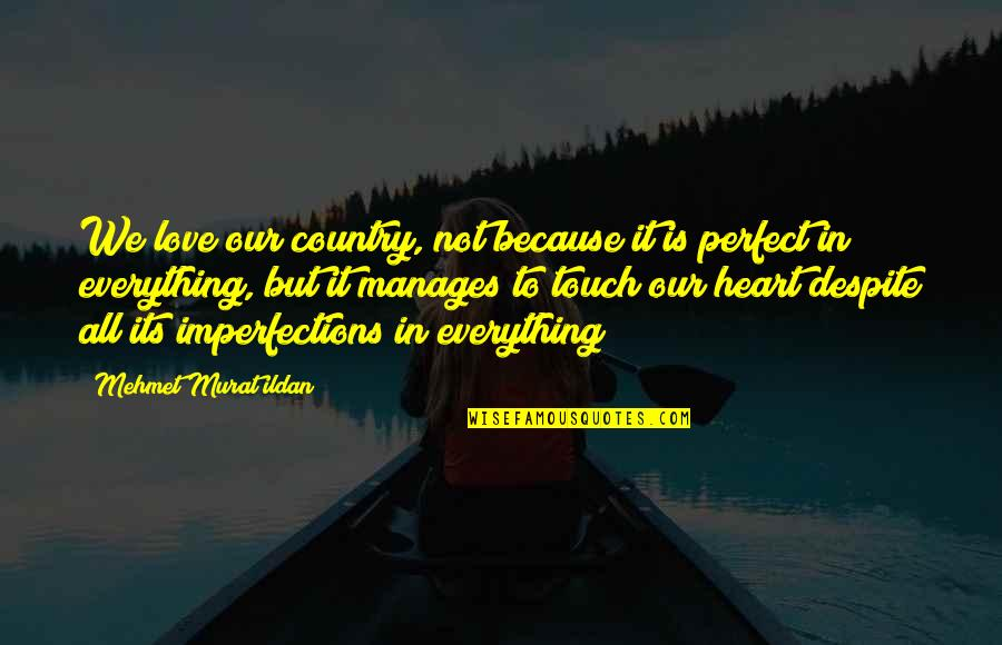 Love You Despite Quotes By Mehmet Murat Ildan: We love our country, not because it is
