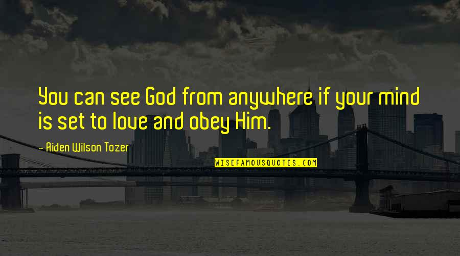 Love Your God With All Your Mind Quotes By Aiden Wilson Tozer: You can see God from anywhere if your