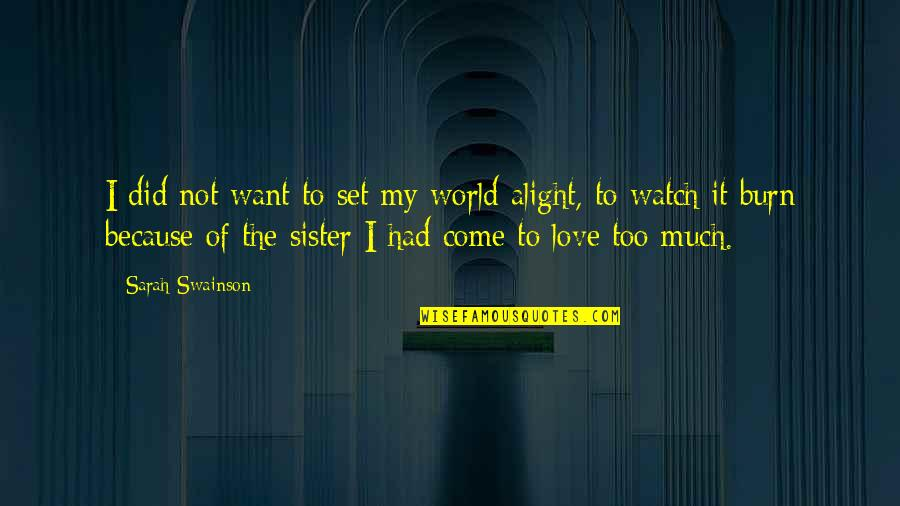 Love Your Sister Quotes By Sarah Swainson: I did not want to set my world