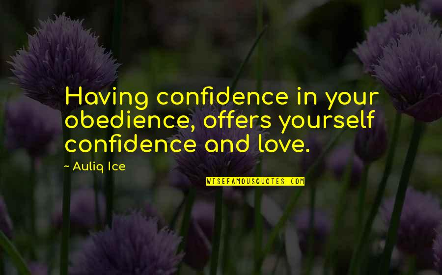 Love Your Yourself Quotes By Auliq Ice: Having confidence in your obedience, offers yourself confidence