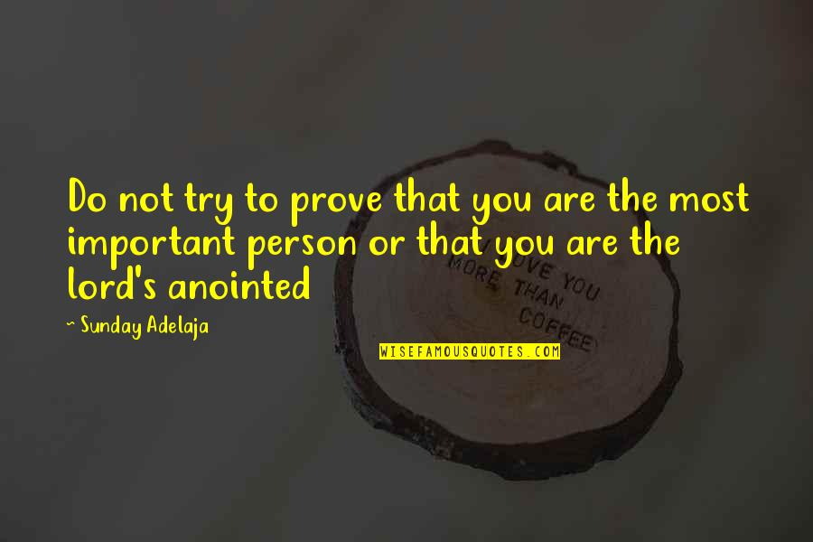 Loving Arms Quotes By Sunday Adelaja: Do not try to prove that you are