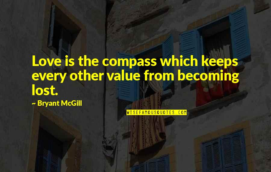 Loving My Cousins Quotes By Bryant McGill: Love is the compass which keeps every other