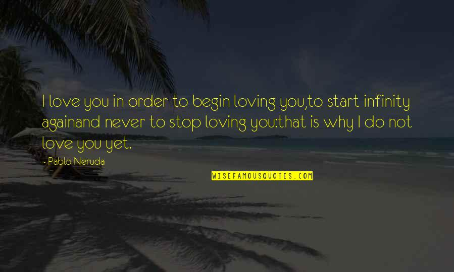 Loving You All Over Again Quotes By Pablo Neruda: I love you in order to begin loving