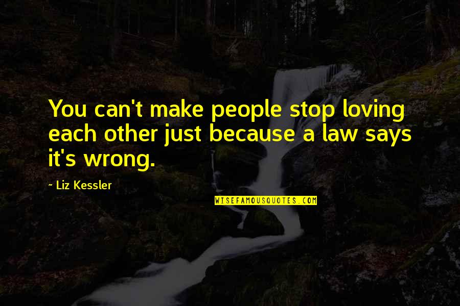 Loving You Is Wrong Quotes By Liz Kessler: You can't make people stop loving each other