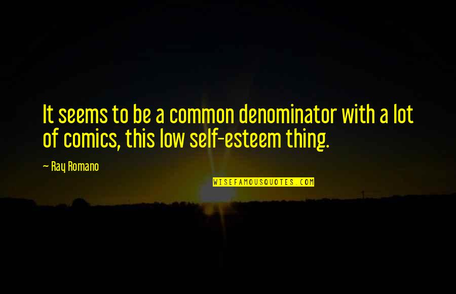 Low Self Quotes By Ray Romano: It seems to be a common denominator with