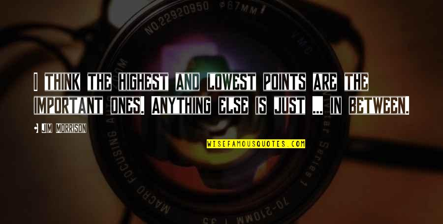 Lowest Of Lows Quotes By Jim Morrison: I think the highest and lowest points are