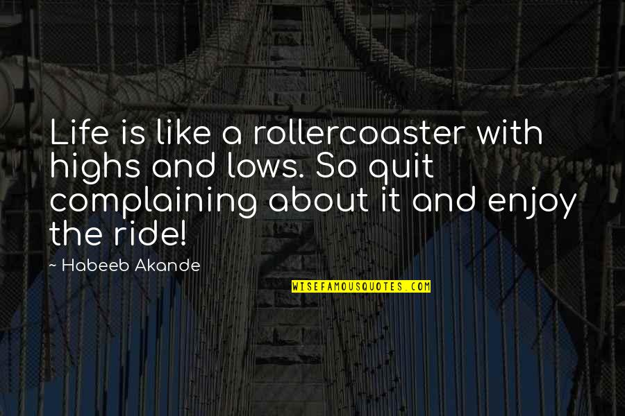 Lows And Highs Quotes By Habeeb Akande: Life is like a rollercoaster with highs and