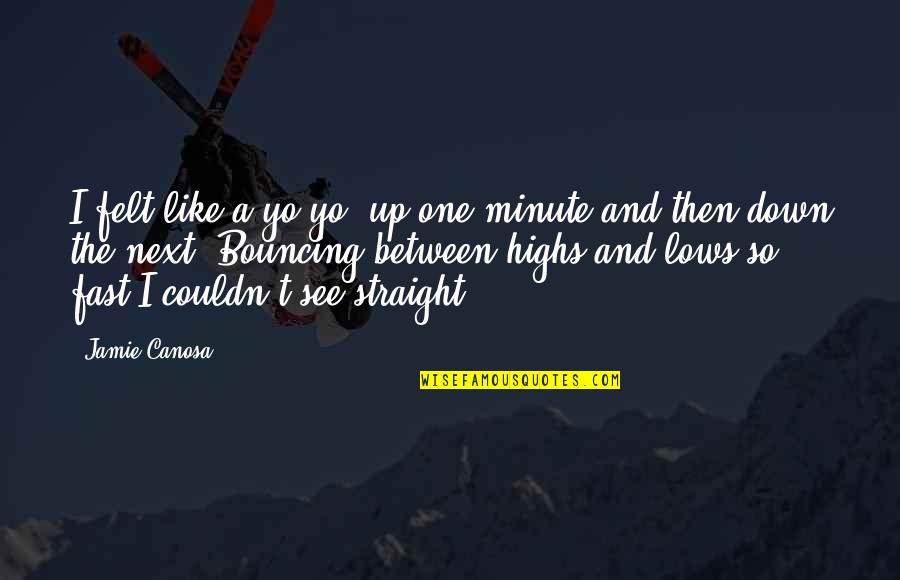 Lows And Highs Quotes By Jamie Canosa: I felt like a yo-yo, up one minute
