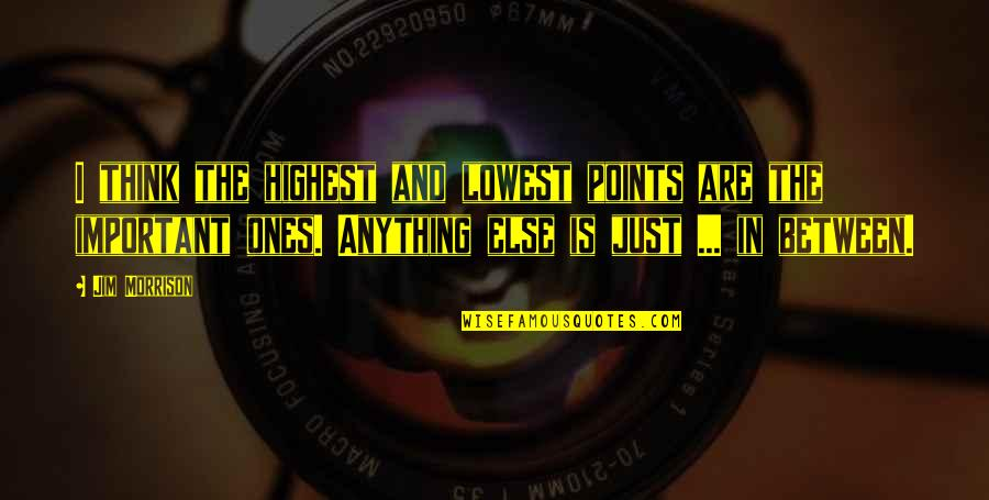 Lows And Highs Quotes By Jim Morrison: I think the highest and lowest points are
