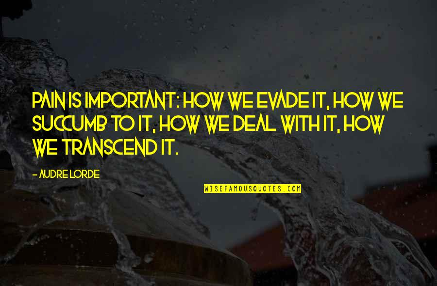 Lubbock Tx Quotes By Audre Lorde: Pain is important: how we evade it, how