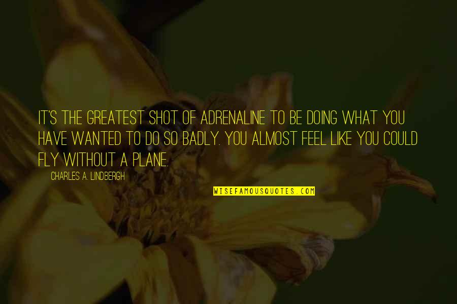 Lubby Dubby Quotes By Charles A. Lindbergh: It's the greatest shot of adrenaline to be