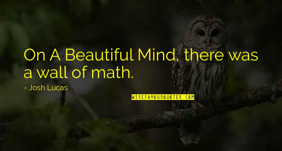 Lucas Quotes By Josh Lucas: On A Beautiful Mind, there was a wall