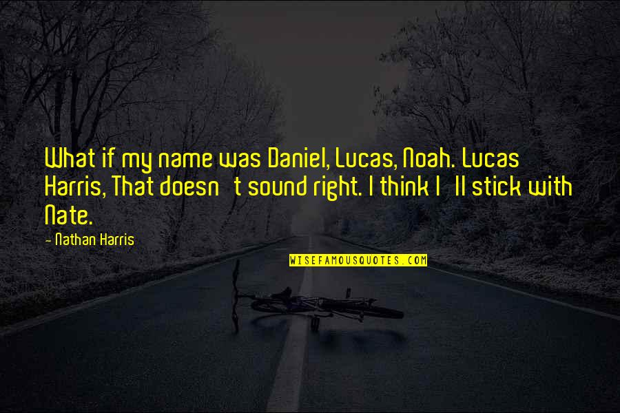 Lucas Quotes By Nathan Harris: What if my name was Daniel, Lucas, Noah.