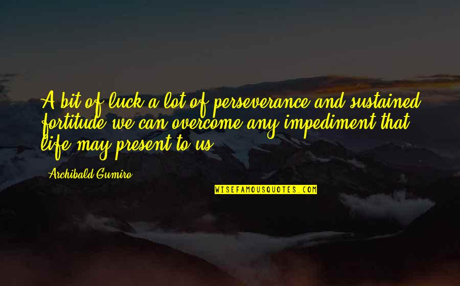 Luck Quotes And Quotes By Archibald Gumiro: A bit of luck a lot of perseverance
