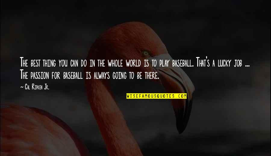 Lucky Quotes By Cal Ripken Jr.: The best thing you can do in the