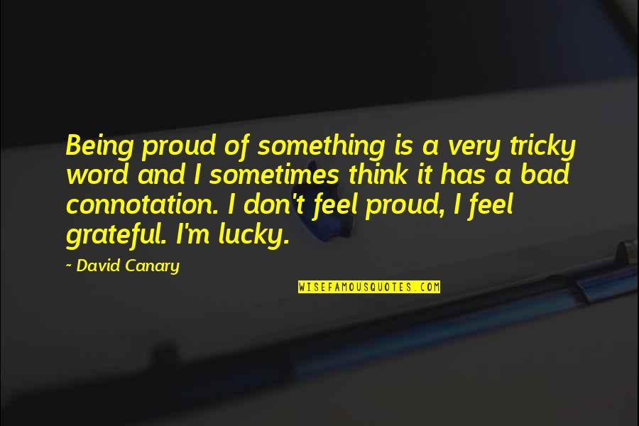 Lucky Quotes By David Canary: Being proud of something is a very tricky