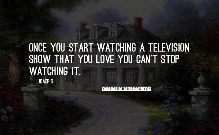 Ludacris quotes: Once you start watching a television show that you love you can't stop watching it.