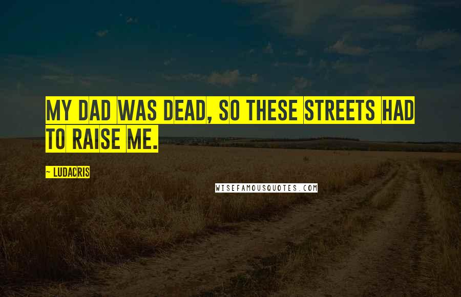 Ludacris quotes: My dad was dead, so these streets had to raise me.