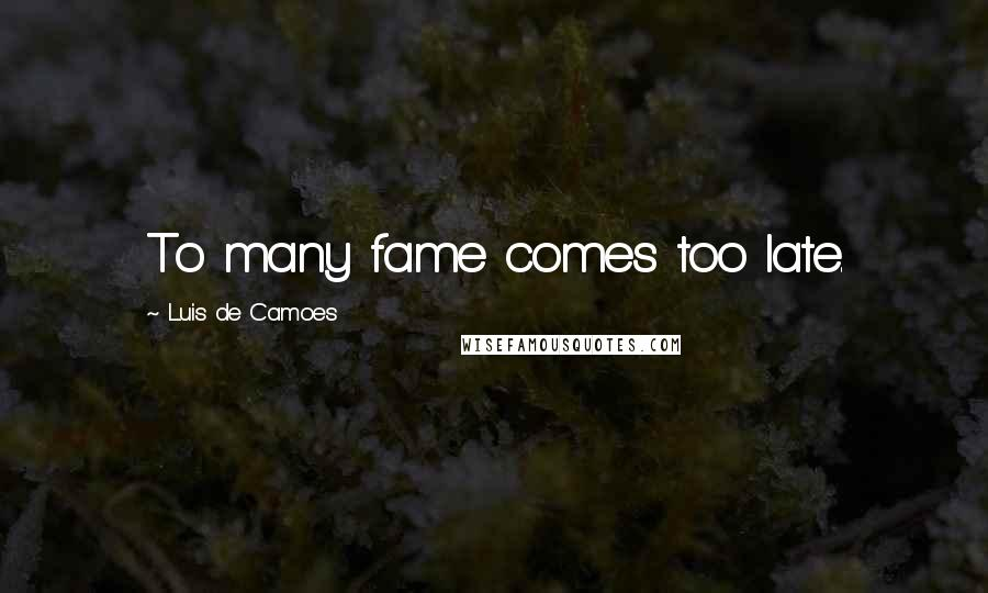 Luis De Camoes quotes: To many fame comes too late.