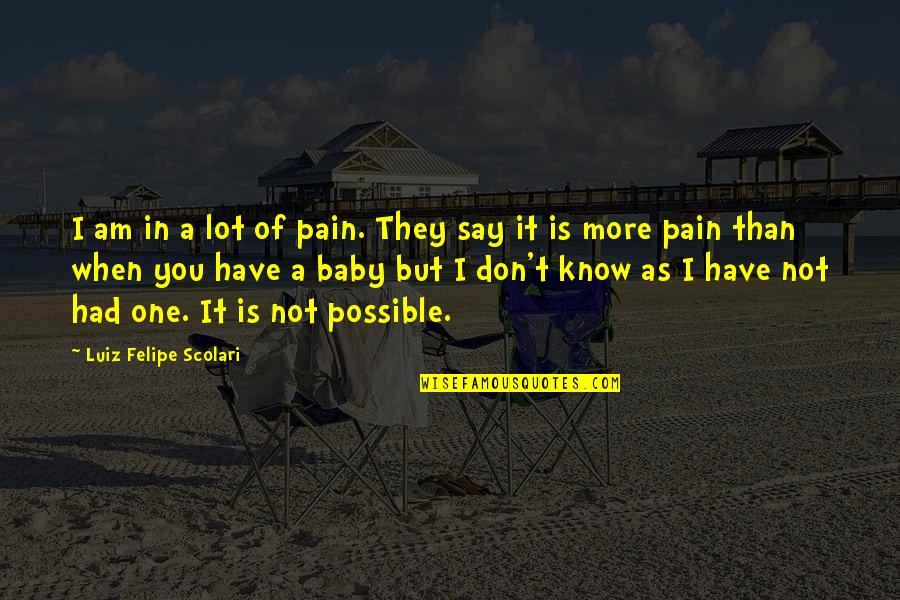 Luiz Felipe Scolari Quotes By Luiz Felipe Scolari: I am in a lot of pain. They
