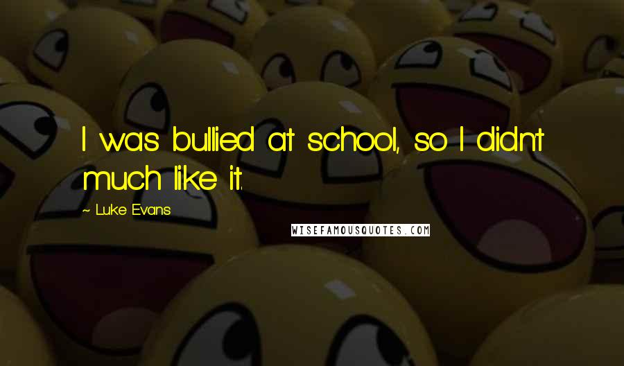 Luke Evans quotes: I was bullied at school, so I didn't much like it.