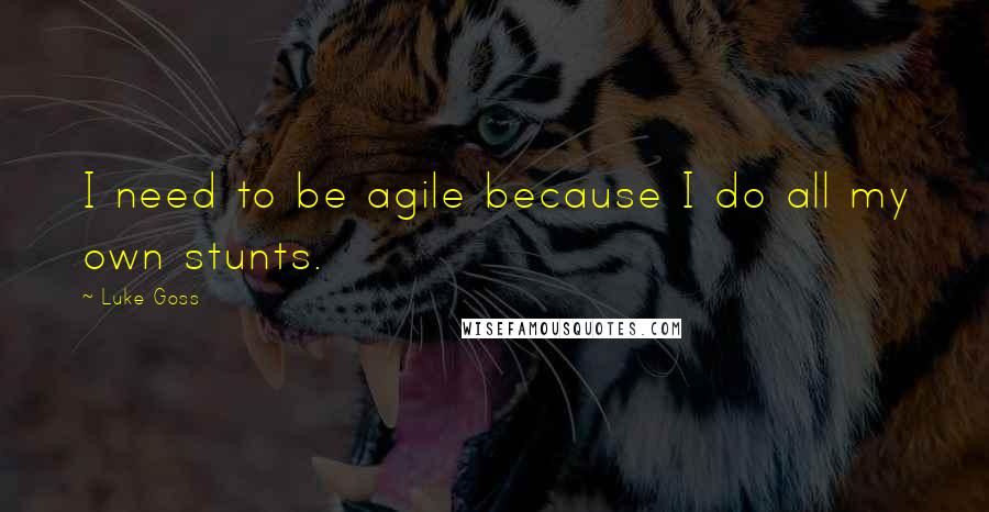Luke Goss quotes: I need to be agile because I do all my own stunts.
