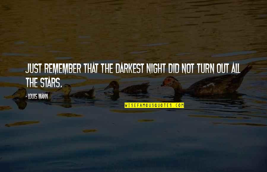 Lupe Fiasco Deep Quotes By Louis Mann: Just remember that the darkest night did not