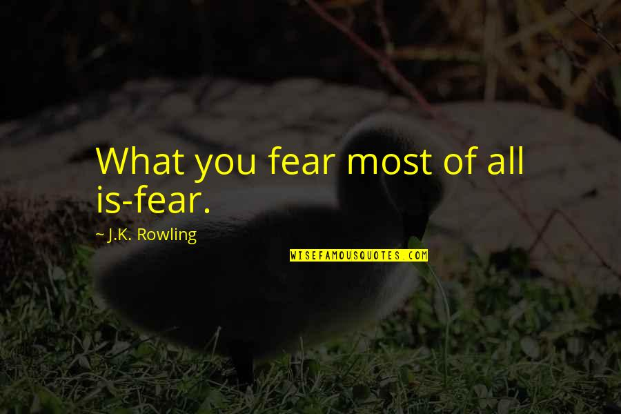 Lupin Remus Quotes By J.K. Rowling: What you fear most of all is-fear.