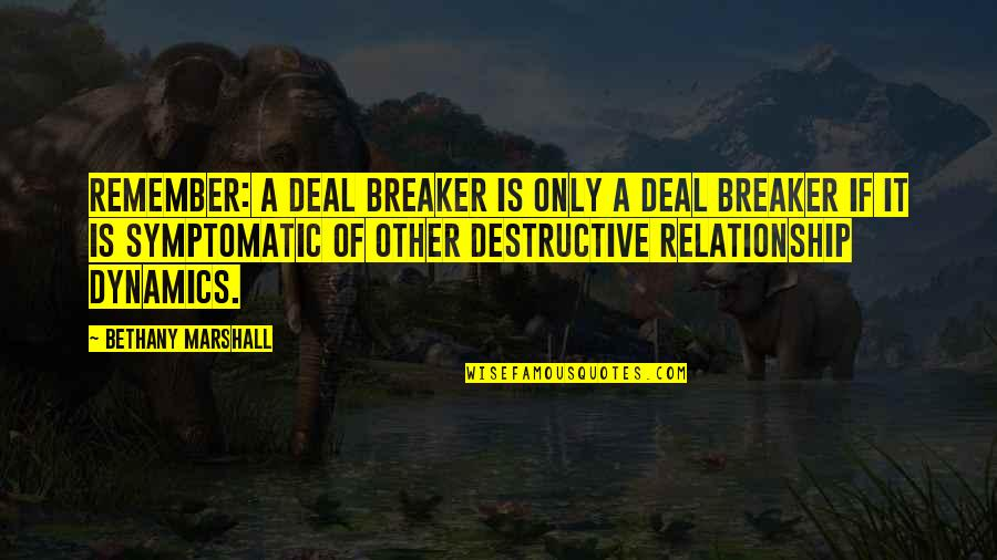 Lusaka Quotes By Bethany Marshall: Remember: A deal breaker is only a deal