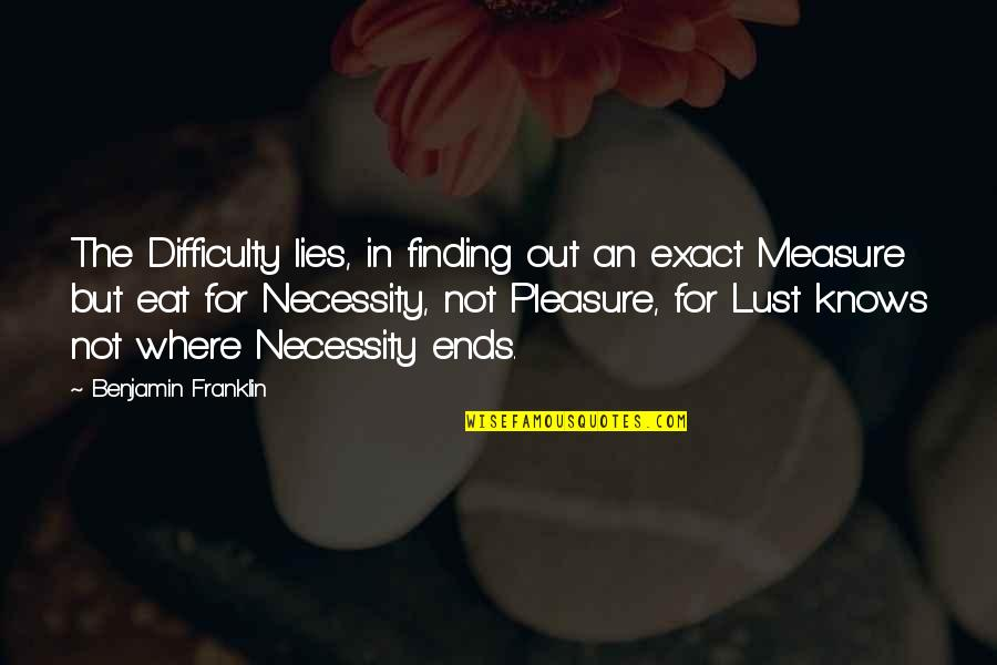 Lust'st Quotes By Benjamin Franklin: The Difficulty lies, in finding out an exact