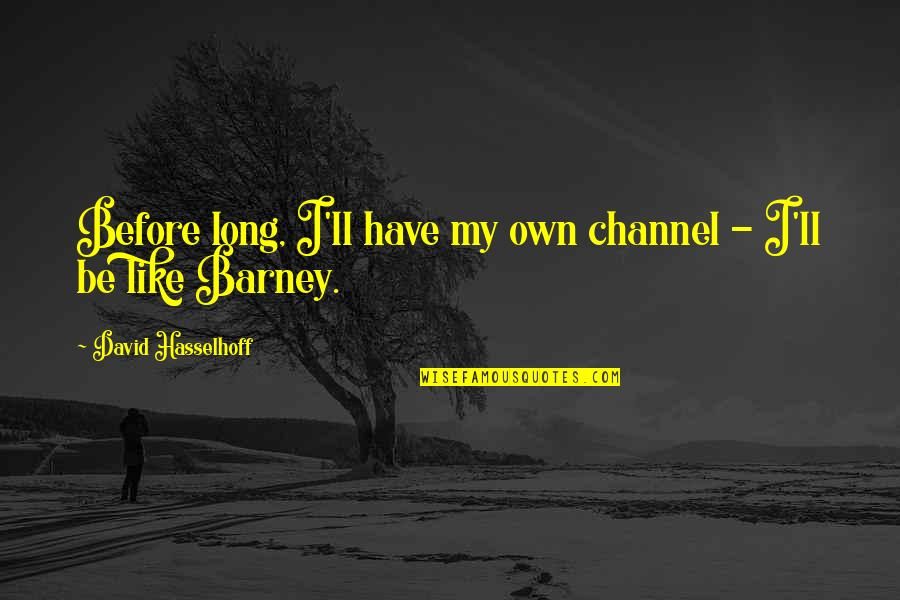 Luxury Bags Quotes By David Hasselhoff: Before long, I'll have my own channel -
