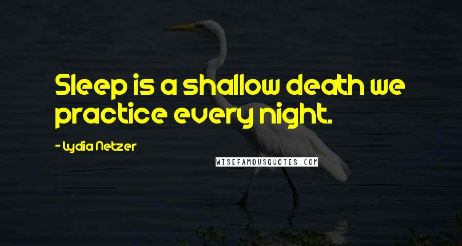 Lydia Netzer quotes: Sleep is a shallow death we practice every night.