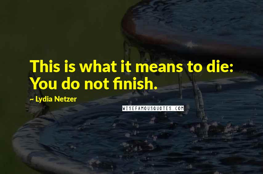 Lydia Netzer quotes: This is what it means to die: You do not finish.