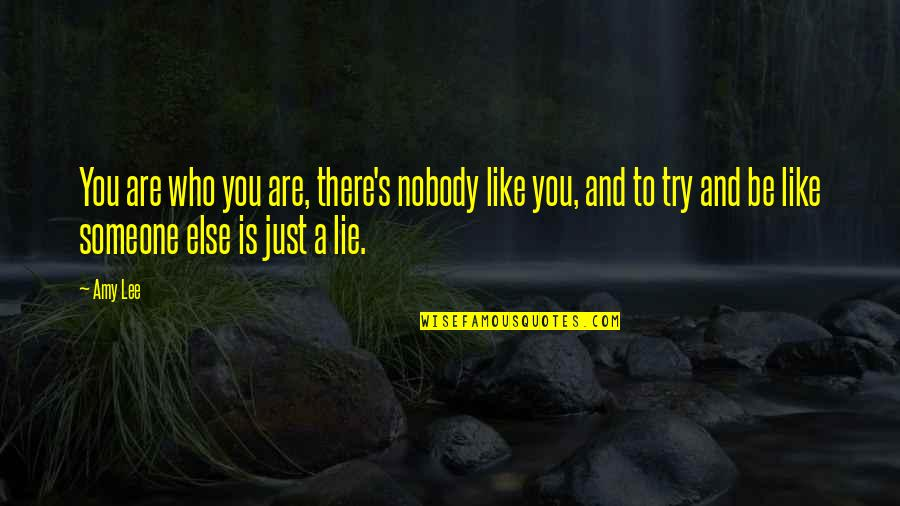 Lying To Someone You Like Quotes By Amy Lee: You are who you are, there's nobody like