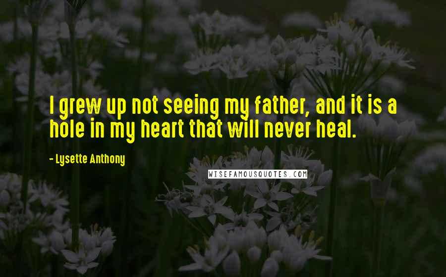 Lysette Anthony quotes: I grew up not seeing my father, and it is a hole in my heart that will never heal.