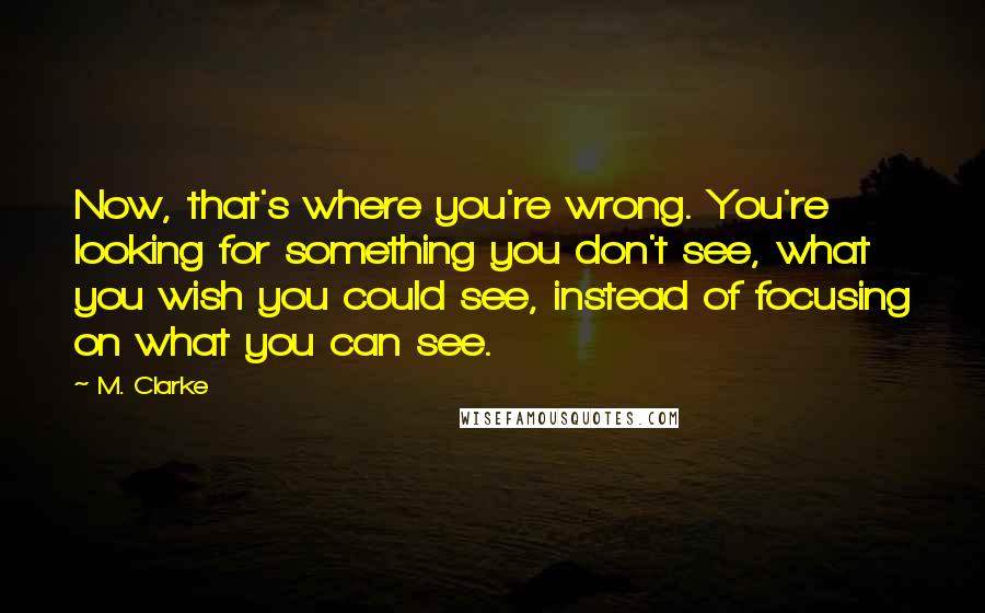 M. Clarke quotes: Now, that's where you're wrong. You're looking for something you don't see, what you wish you could see, instead of focusing on what you can see.