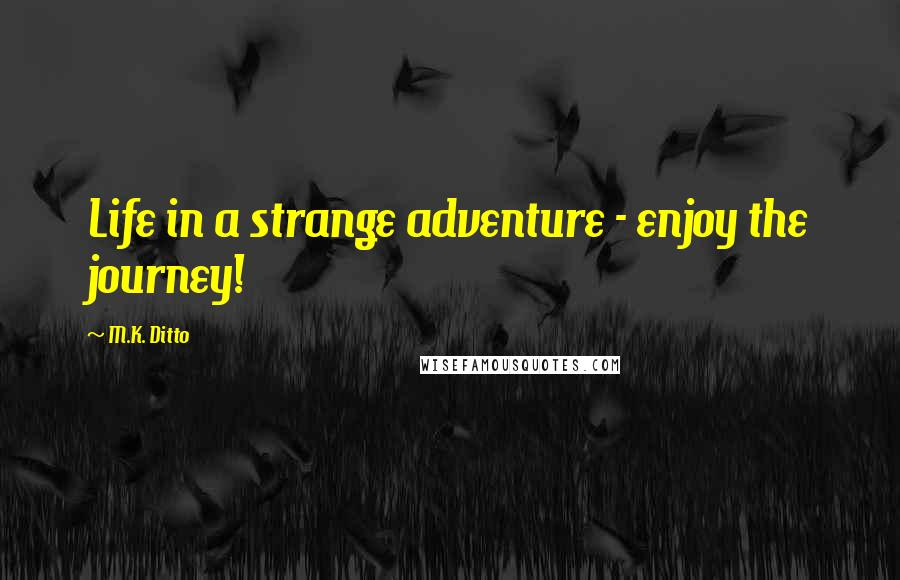 M.K. Ditto quotes: Life in a strange adventure - enjoy the journey!